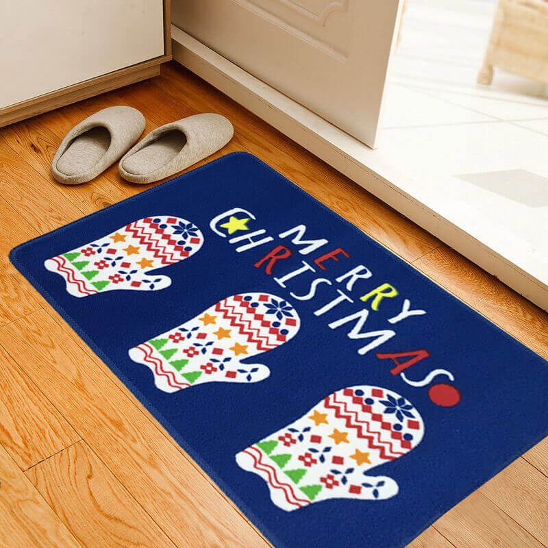новогодний коврик синий
