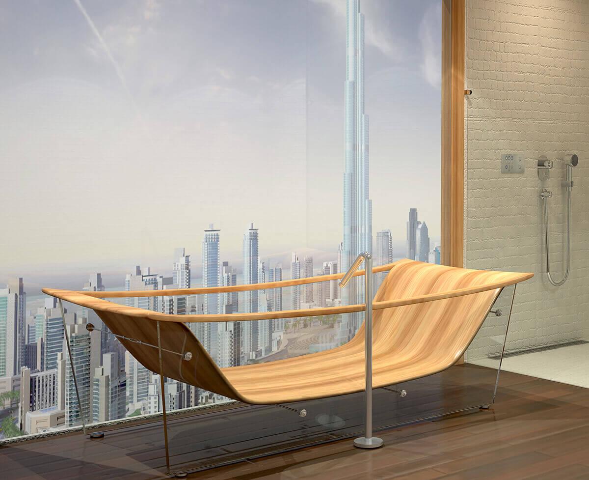ванна из стекла с основой из дерева