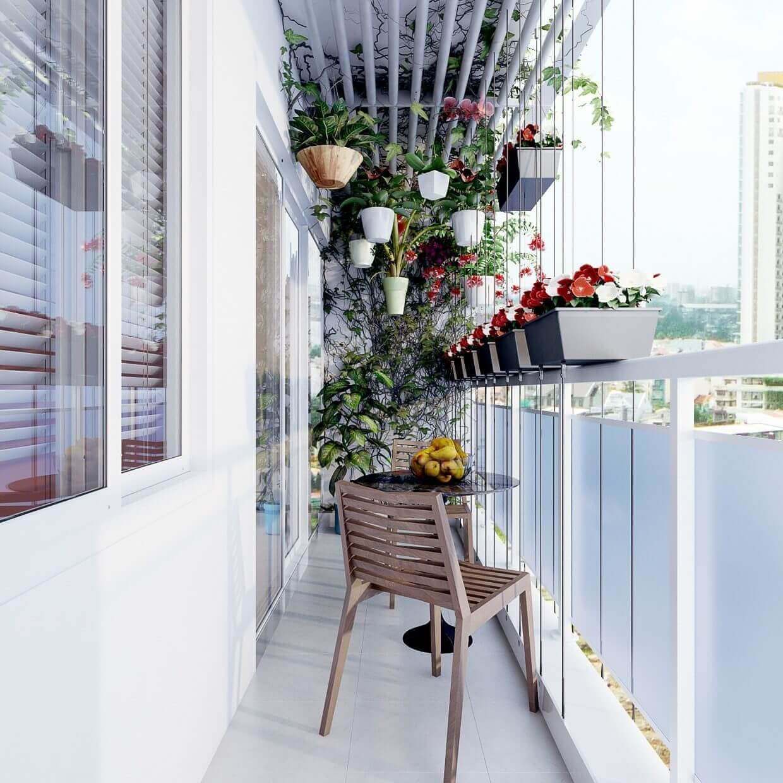украшение балконов цветами