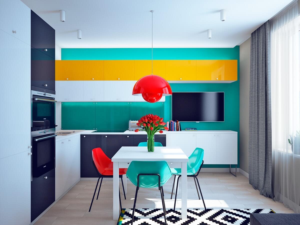 контрастные цвета в интерьере кухни
